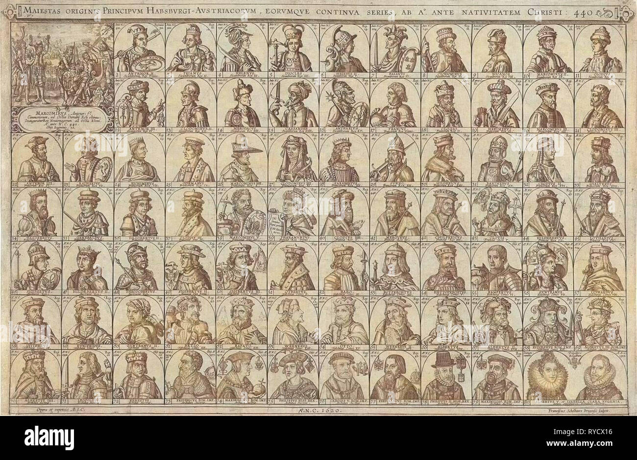 Portraits of princes of the House of Habsburg, print maker: Franciscus Schelhauer, 1620 - Stock Image