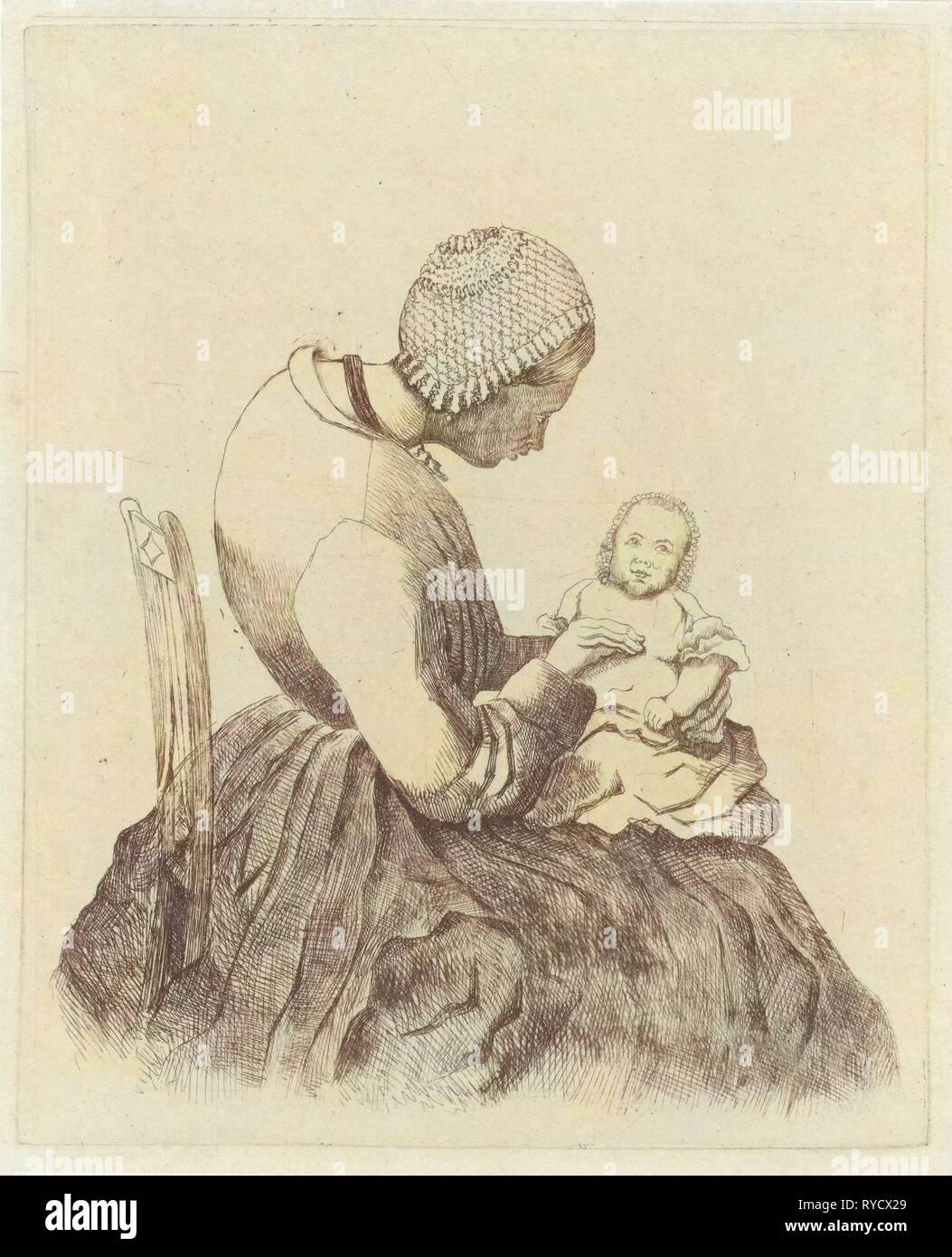 Mother with child, Eberhard Cornelis Rahms, 1859 - Stock Image