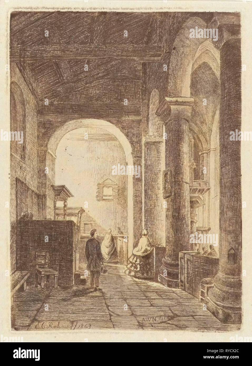Interior of a church, Eberhard Cornelis Rahms, 1863 - Stock Image