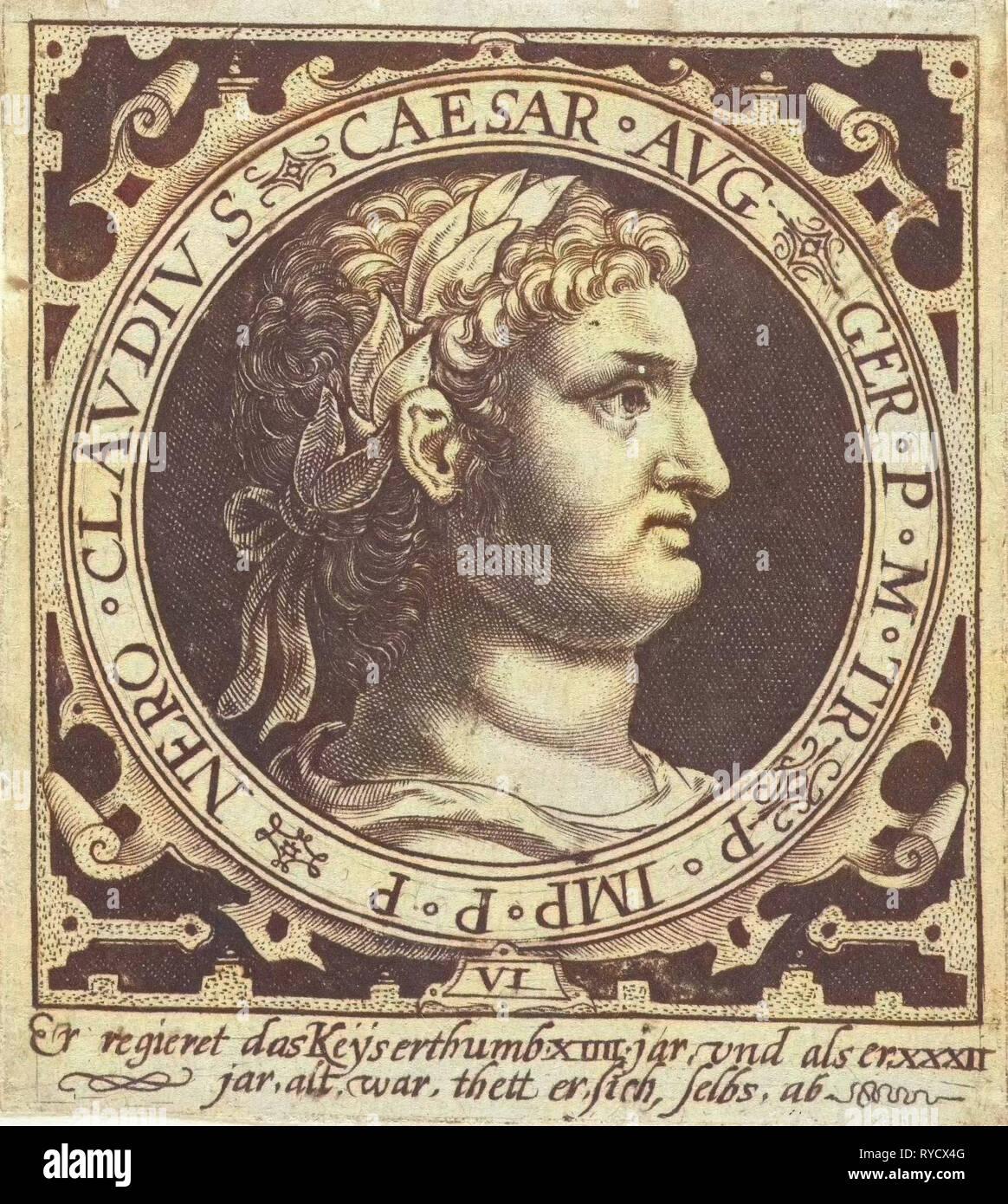 Portrait of Emperor Nero medallion, Nicolaes de Bruyn, 1594 - Stock Image