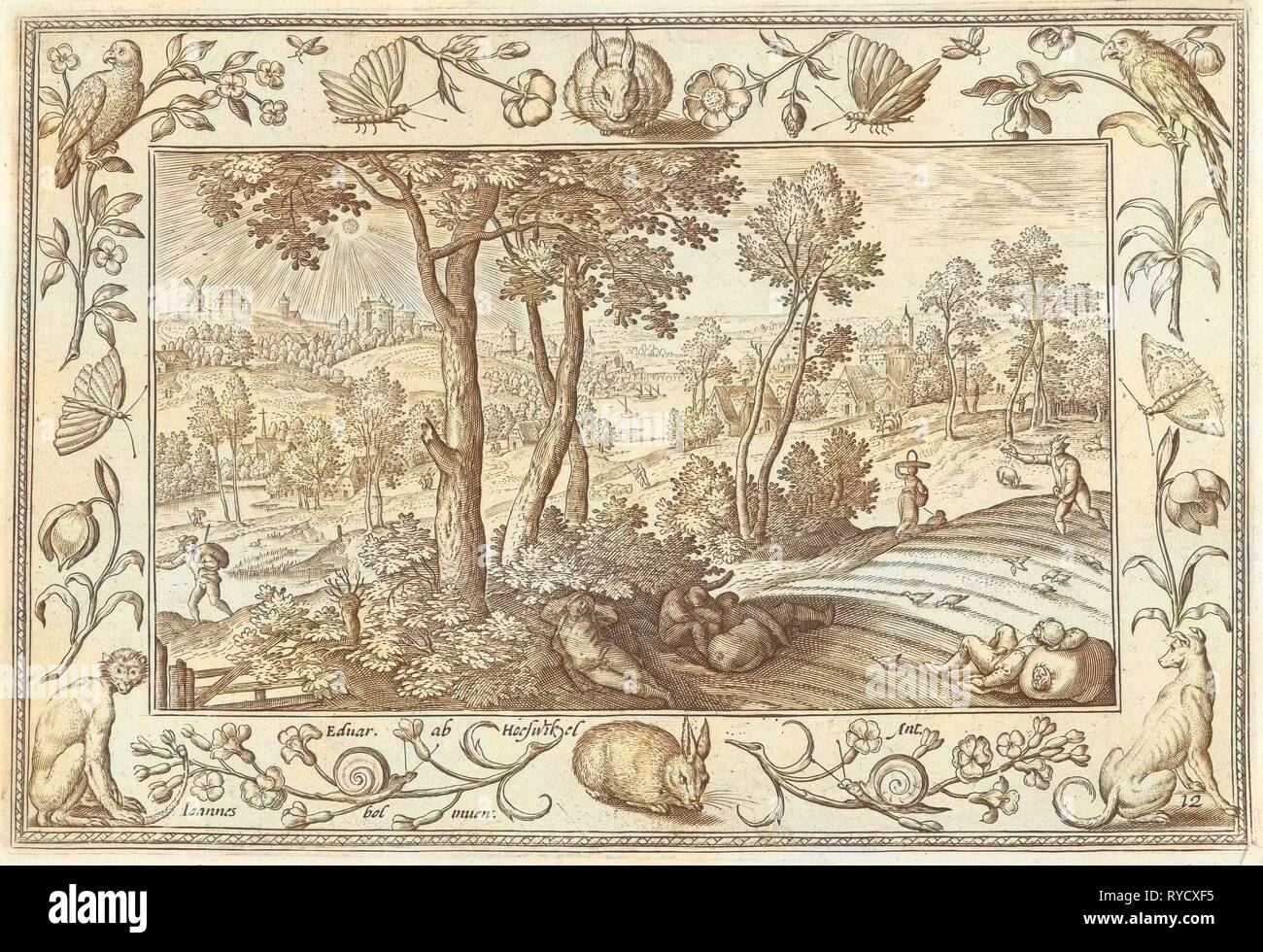 Weeds among the wheat, Adriaen Collaert, Eduwart Hoes Winckel, 1582-1586 - Stock Image