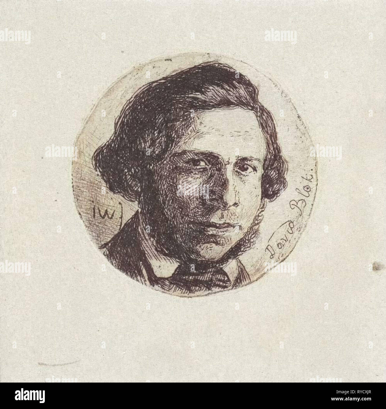 Portrait of David Block, Jan Weissenbruch, 1837 - 1880 - Stock Image