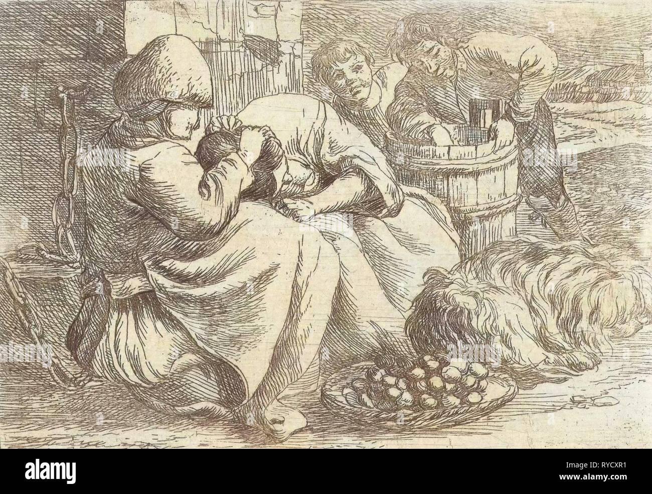 Old woman delouses a girl, Jan van Ossenbeeck, 1647 - 1674 Stock Photo