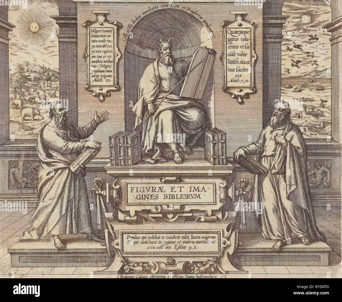 Moses with the law in the company of two prophets, Johann Bussemacher, 1577-1627 - Stock Image