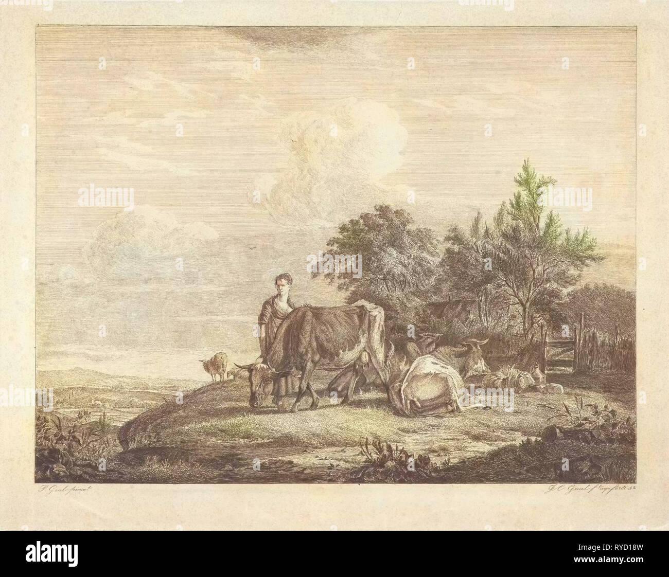 Landscape with shepherdess with her flock, print maker: Jacobus Cornelis Gaal, Pieter Gaal, 1852 - Stock Image