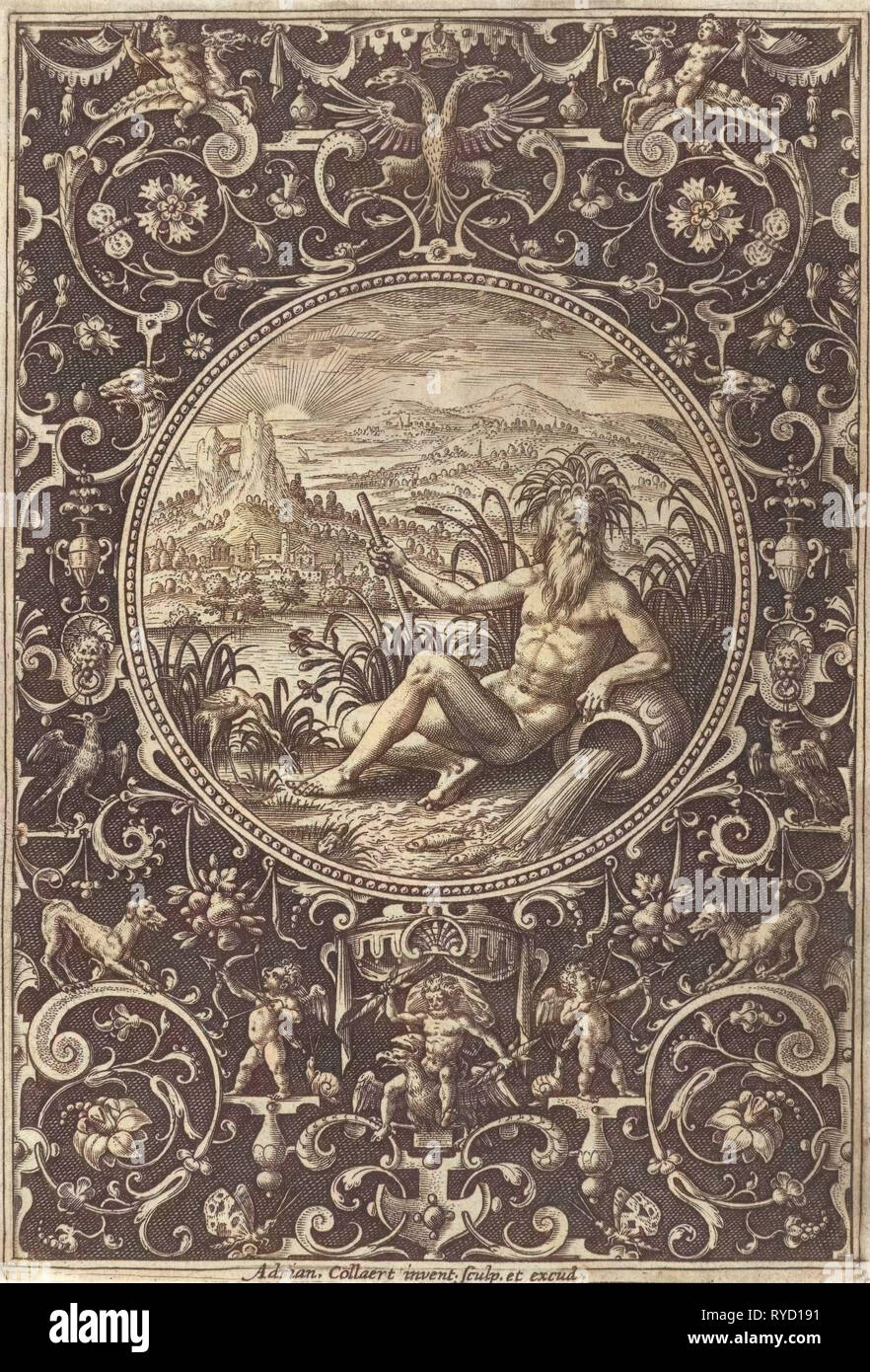 Medallion which a stroomgod, Adriaen Collaert, 1570 - 1618 - Stock Image