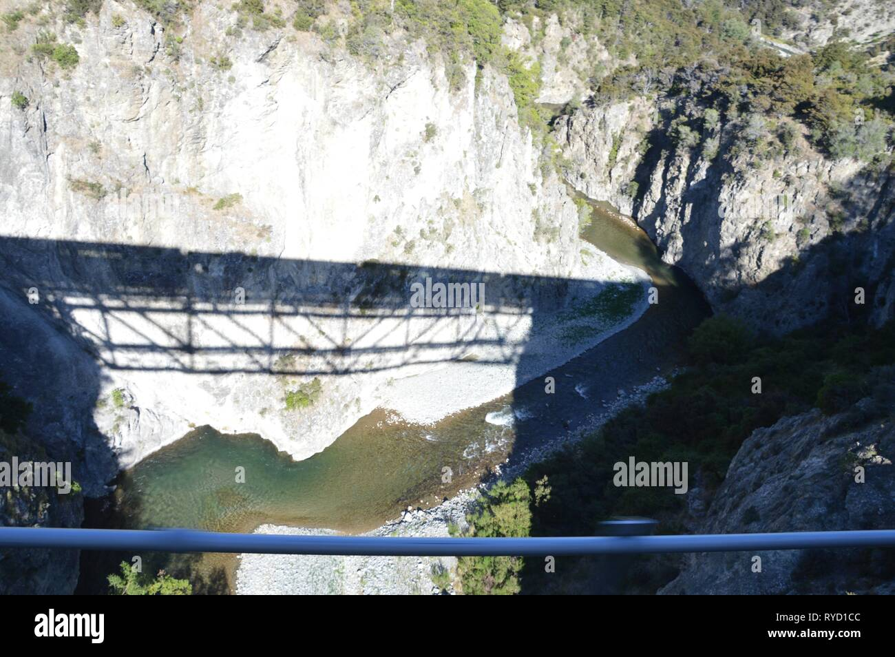 Train bridges in the New Zealand Alps seen from the Tranzalpine - Stock Image