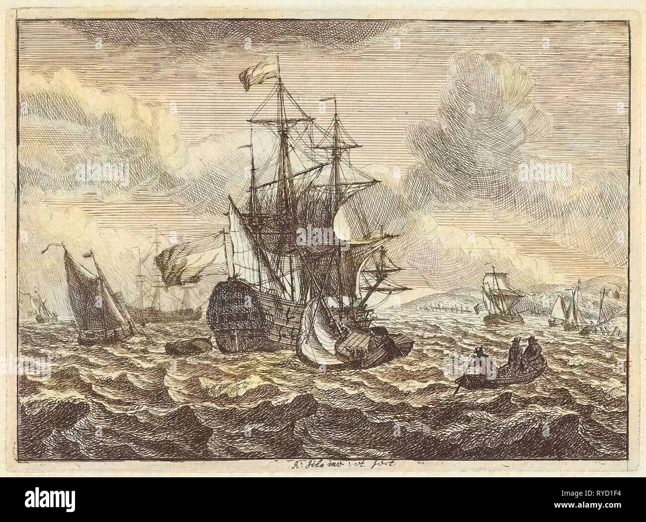 Seascapes with boats and rowing boat, Adam Silo, 1689-1760 - Stock Image
