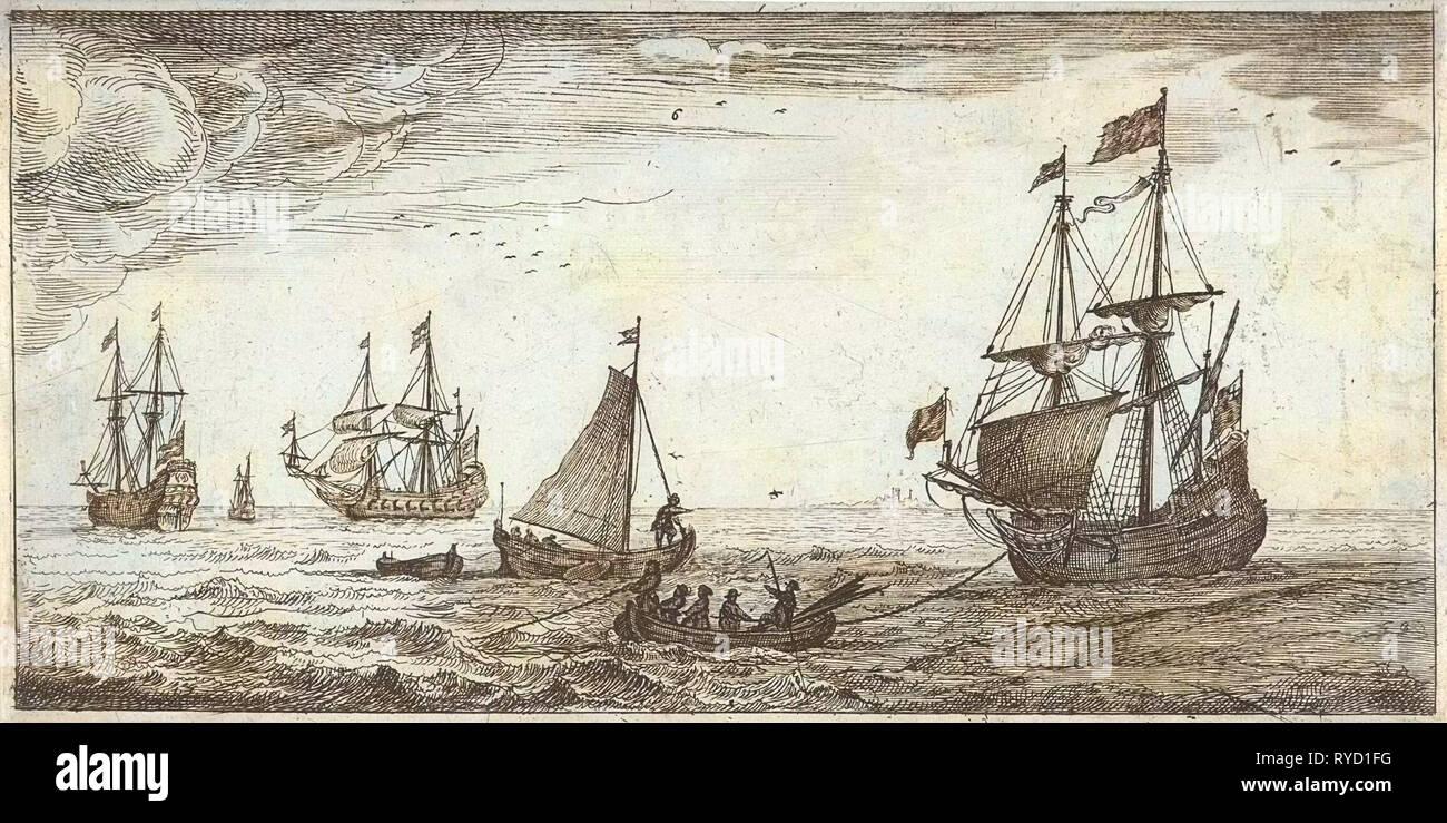 Ships at sea, Jacob Quack, Jan Houwens I, 1665 - Stock Image