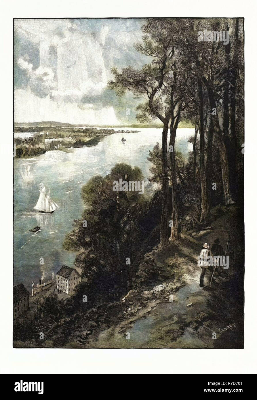 Bay of Quinte, from above Stone Mills, Canada, Nineteenth Century Engraving - Stock Image