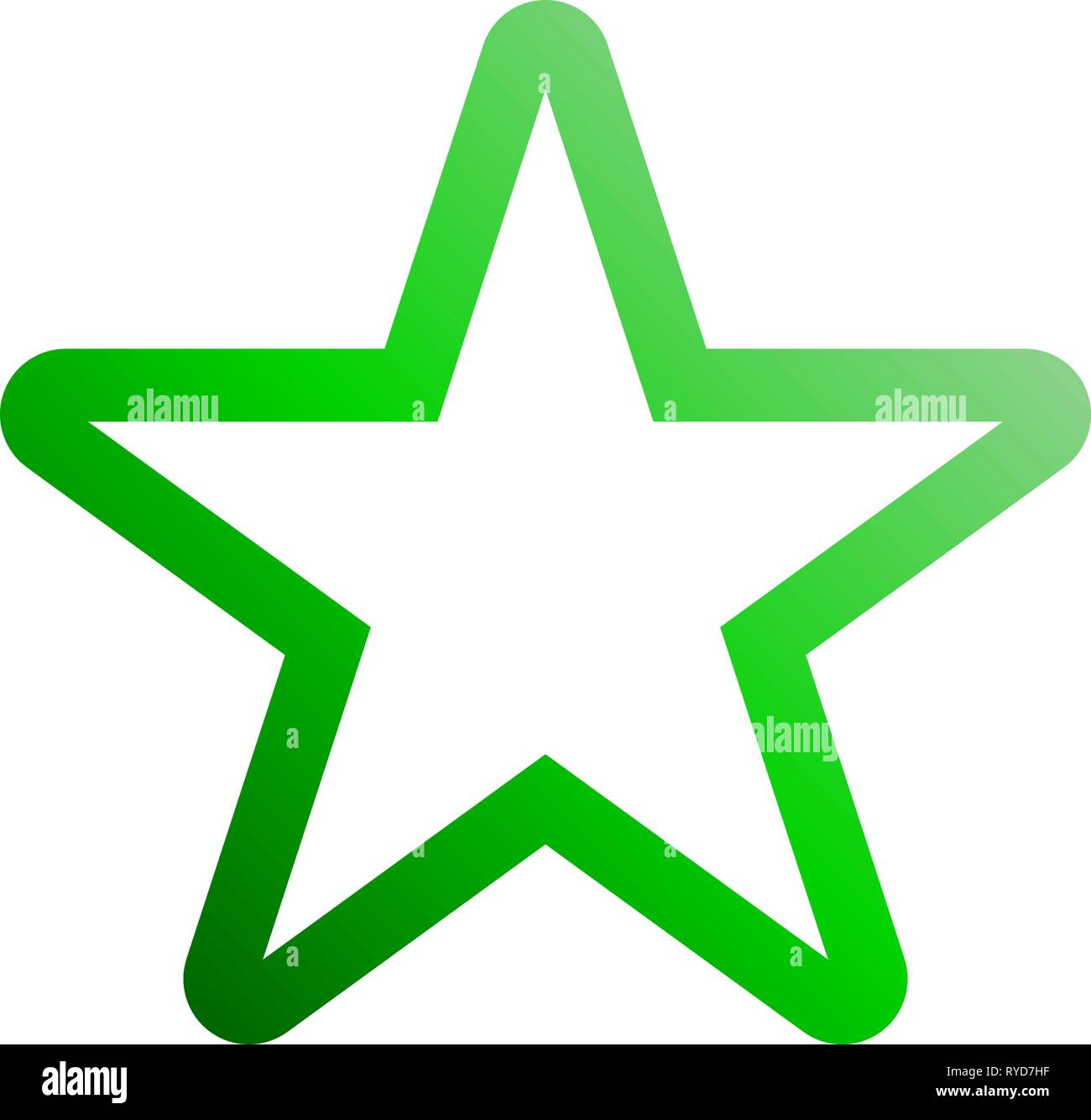 Star symbol icon - green gradient outline, 5 pointed rounded