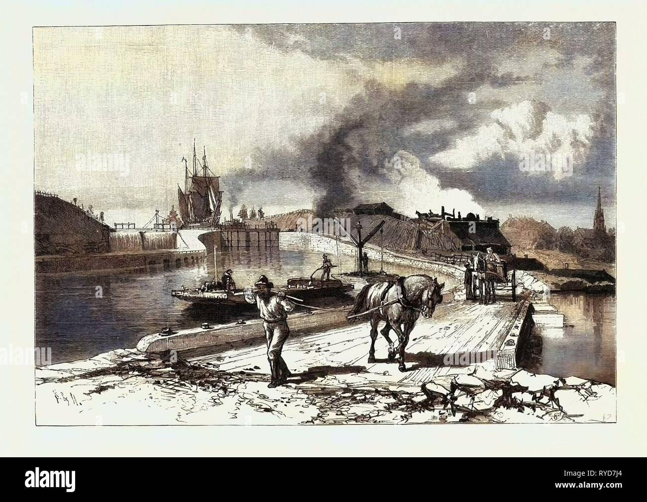 Lock No. 23, Thorold, Canada, Nineteenth Century Engraving - Stock Image