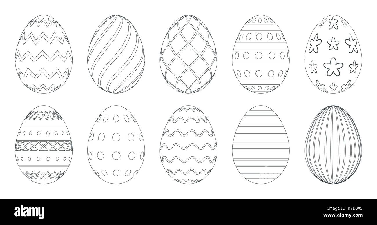 Easter Eggs For Coloring Book. Set Of Black And White Easter Eggs