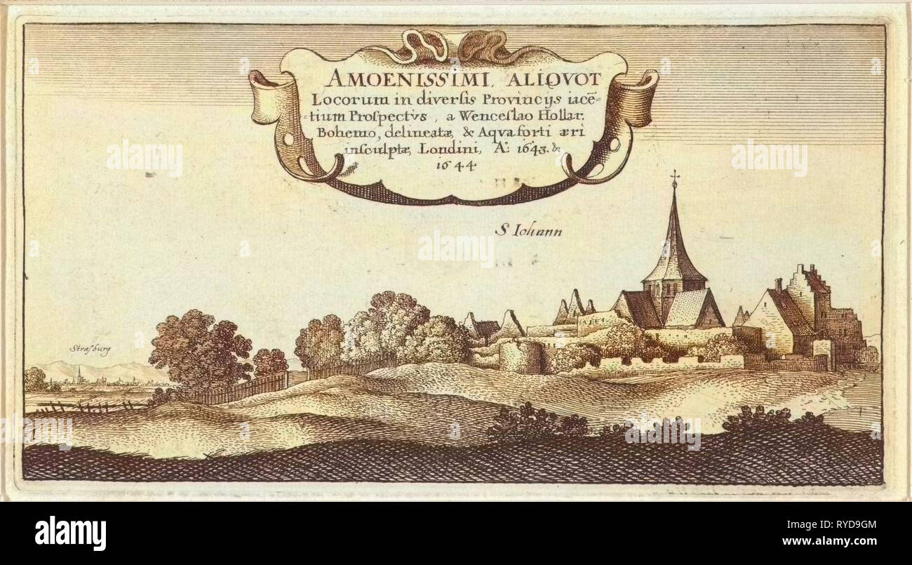 Landscape near Strasbourg France, Wenceslaus Hollar, 1643 - 1644 - Stock  Image