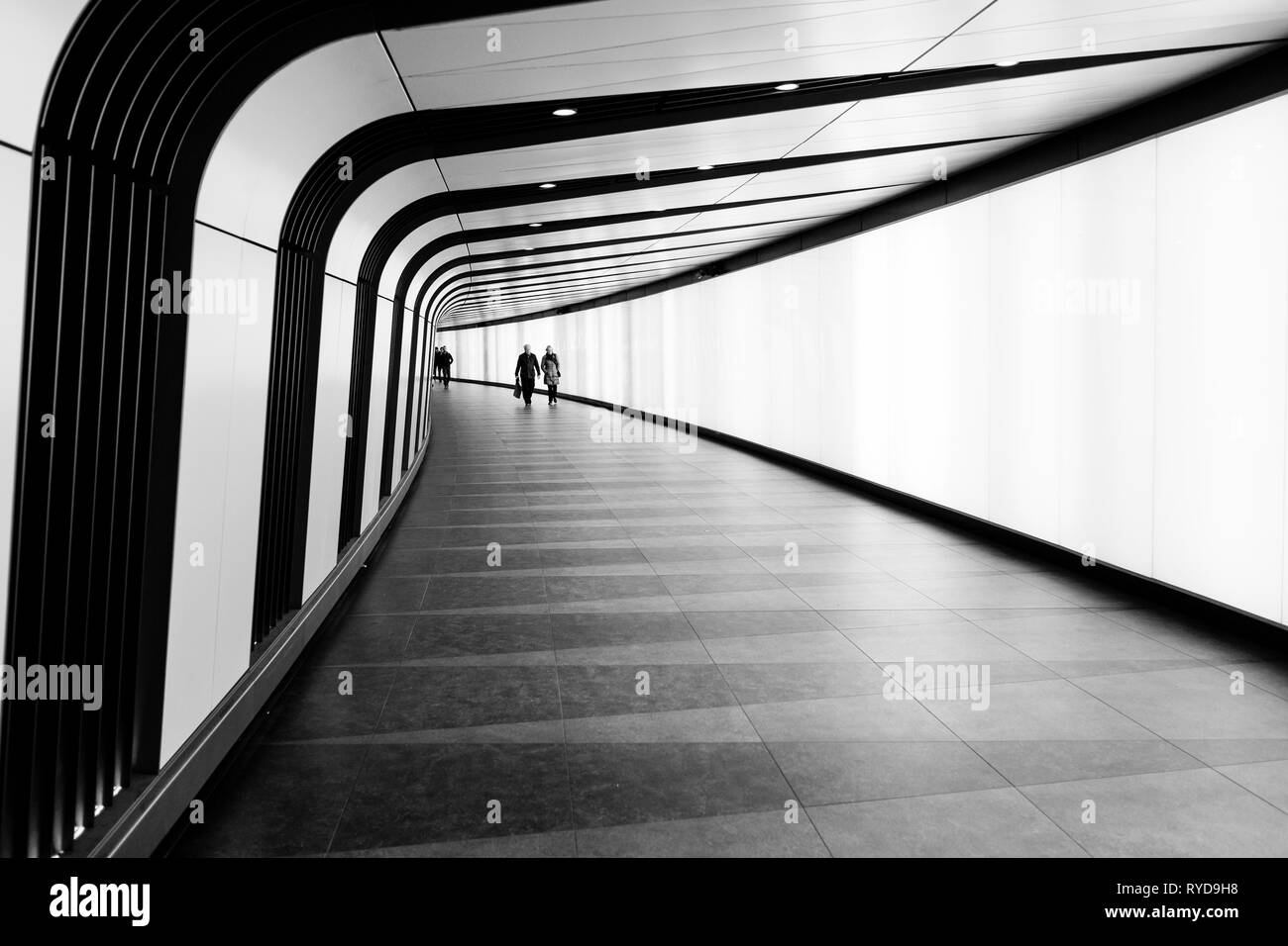 London black and white street photography the kings cross pedestrian tunnel london uk