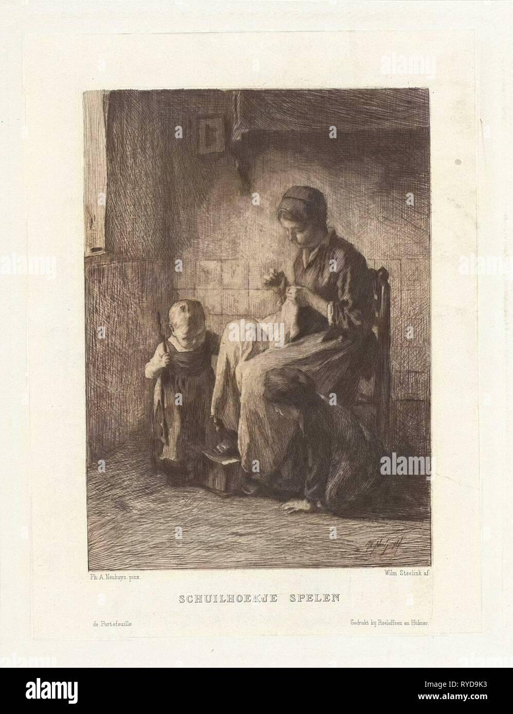 Playing hide and seek, Willem Steelink (II), Roeloffzen & Hübner, 1866 - 1928 - Stock Image