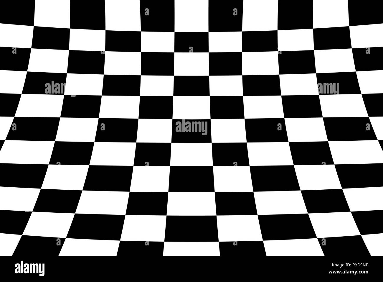 Warped perspective coloured checker board effect grid illustration black and white - Stock Image