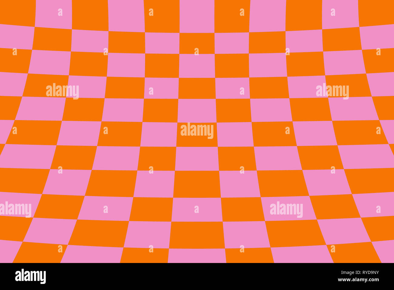 Warped perspective coloured checker board effect grid illustration orange and pink - Stock Image