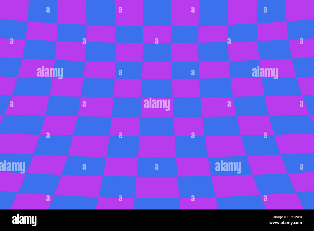Warped perspective coloured checker board effect grid illustration purple and blue - Stock Image