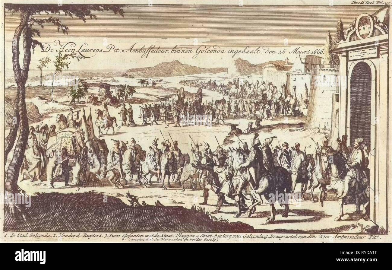 Governor Laurens Pit the Younger received in Golkonda India, Jan Luyken, Jan Claesz ten Hoorn, 1693 - Stock Image