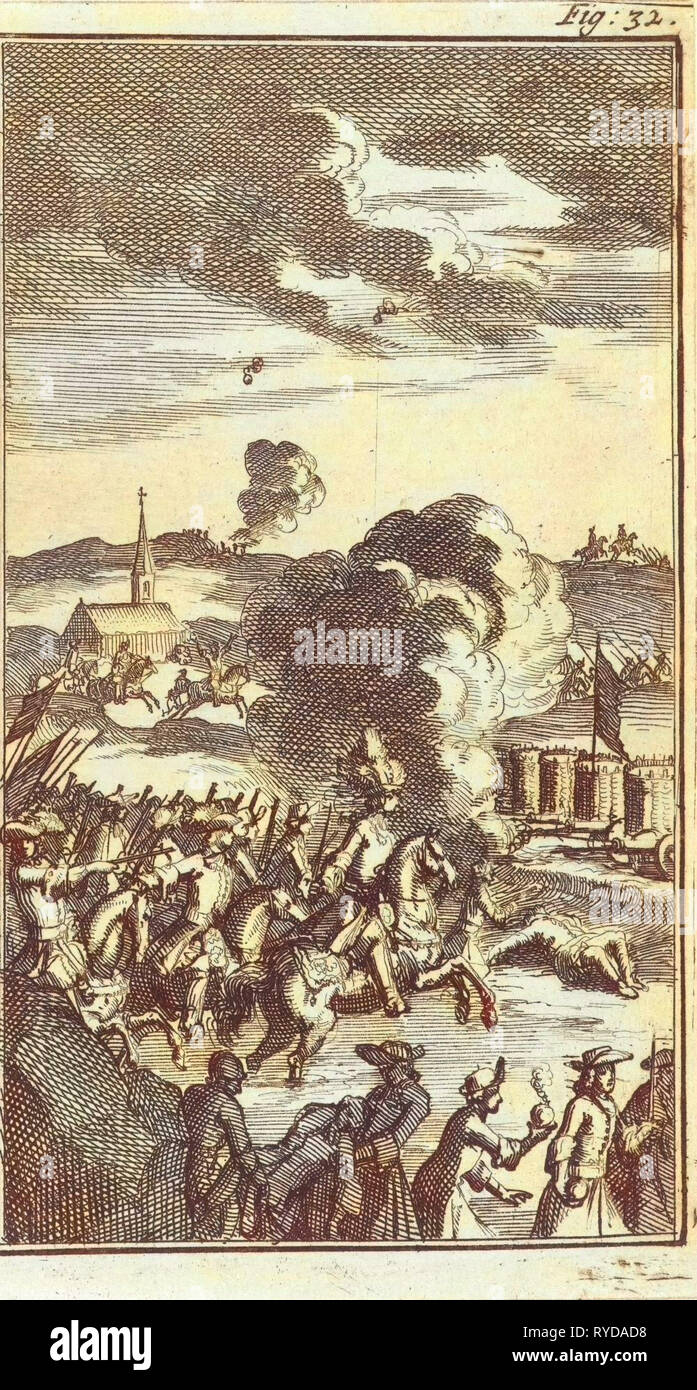 Battle of the Boyne, 1690, Jan Luyken, Barent Beeck, 1691 - Stock Image