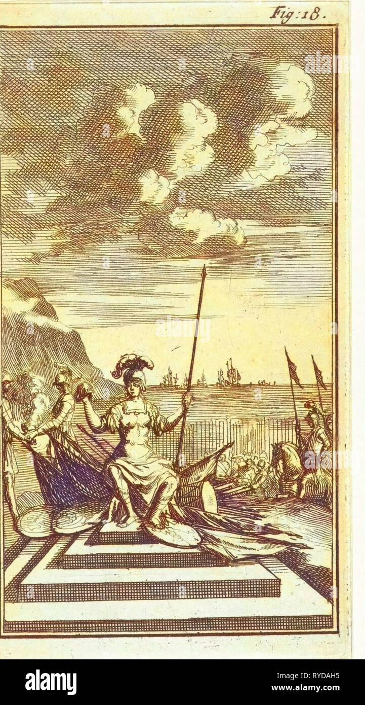 Amazon amid weapons, Jan Luyken, Barent Beeck, 1691 - Stock Image