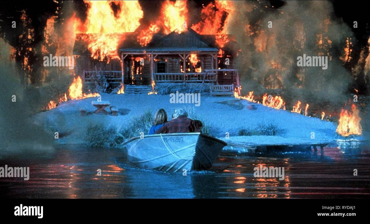 Boat Leaves Burning House Dante S Peak 1997 Stock Photo Alamy