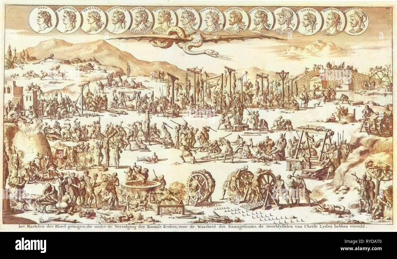 Christian Persecution in Roman times, Jan Luyken, Wilhelmus Goeree (I), 1690 - Stock Image