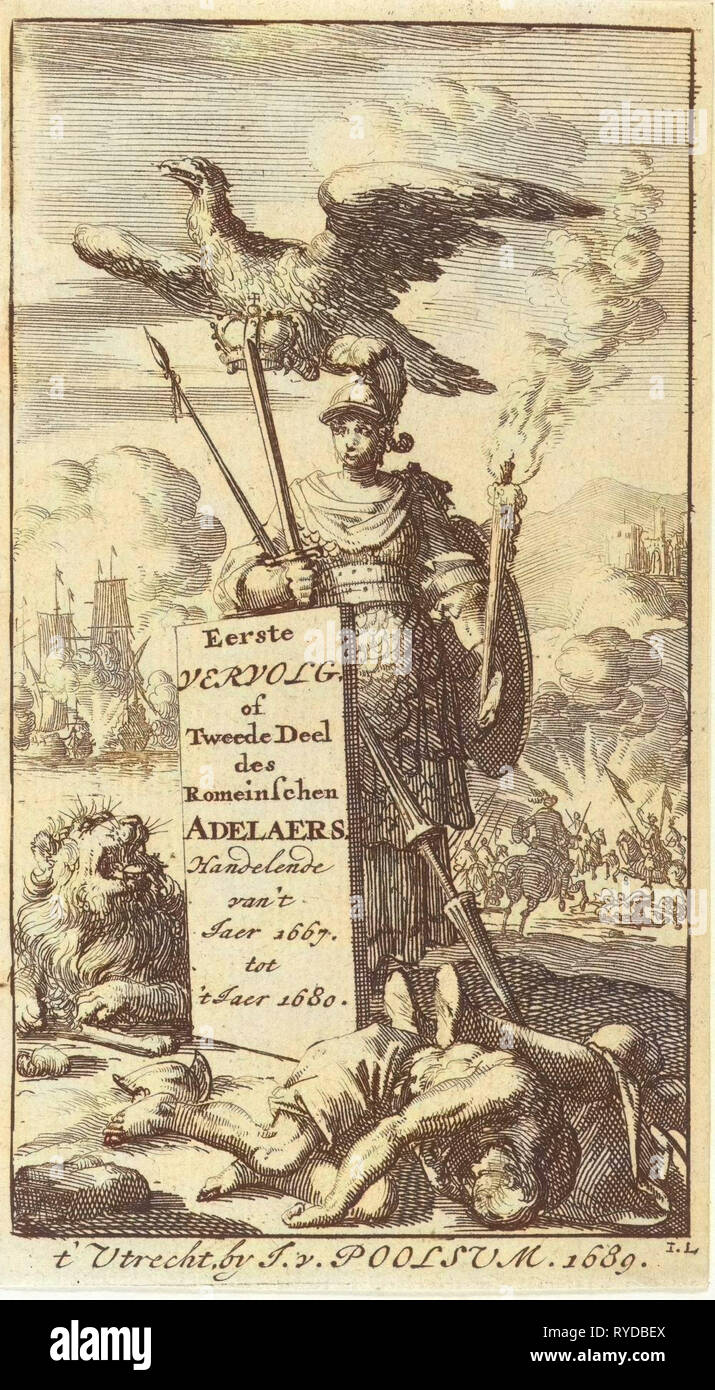 Bellona armed with sword and spear, above her an eagle flies with a crown in its clutches, Jan Luyken, Jurriaen van Poolsum, 1689 - Stock Image