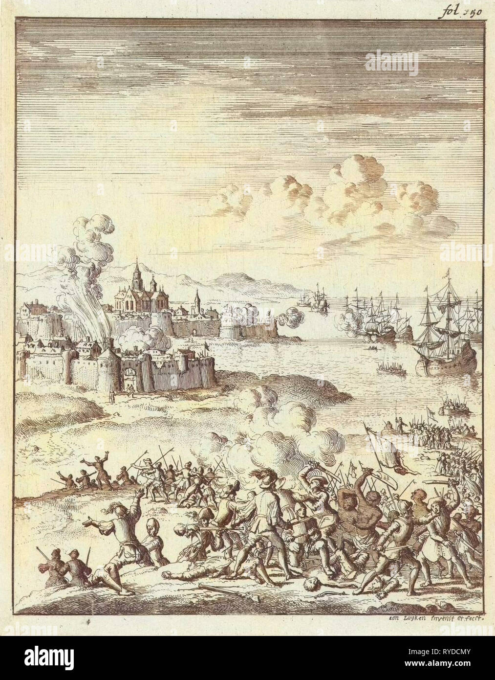 Melaka led by Cornelis Matelief the Younger besieged, 1606, print maker: Jan Luyken, Jan Claesz ten Hoorn, 1683 - Stock Image