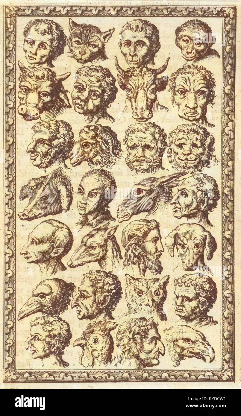 28 cups of humans and animals, Jan Luyken, Willem Goeree, 1682 - Stock Image