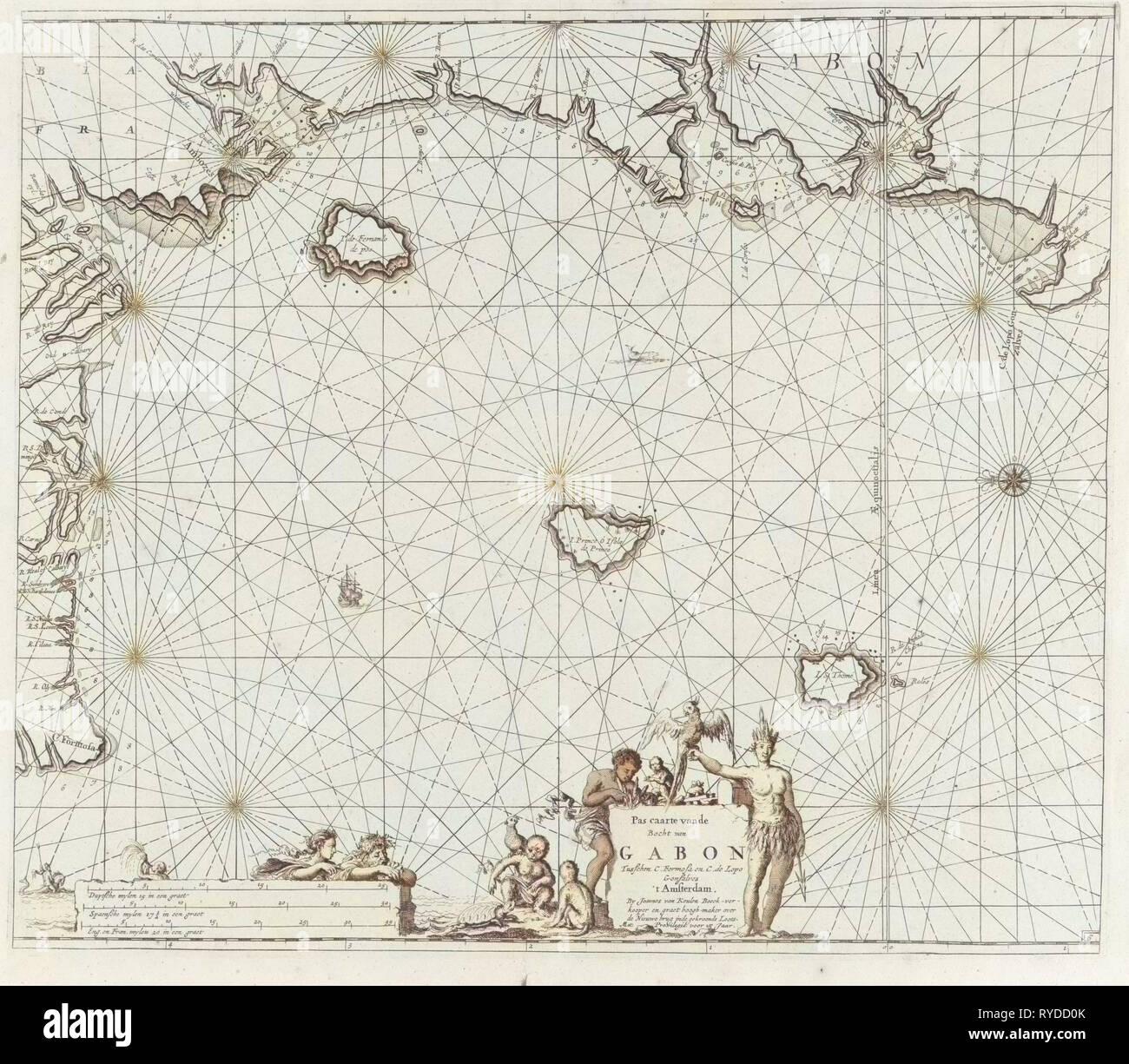Sea chart of the coast of Equatorial Guinea, Gabon and Cameroon, print maker: Jan Luyken, Johannes van Keulen I, unknown, 1683 - 1799 - Stock Image