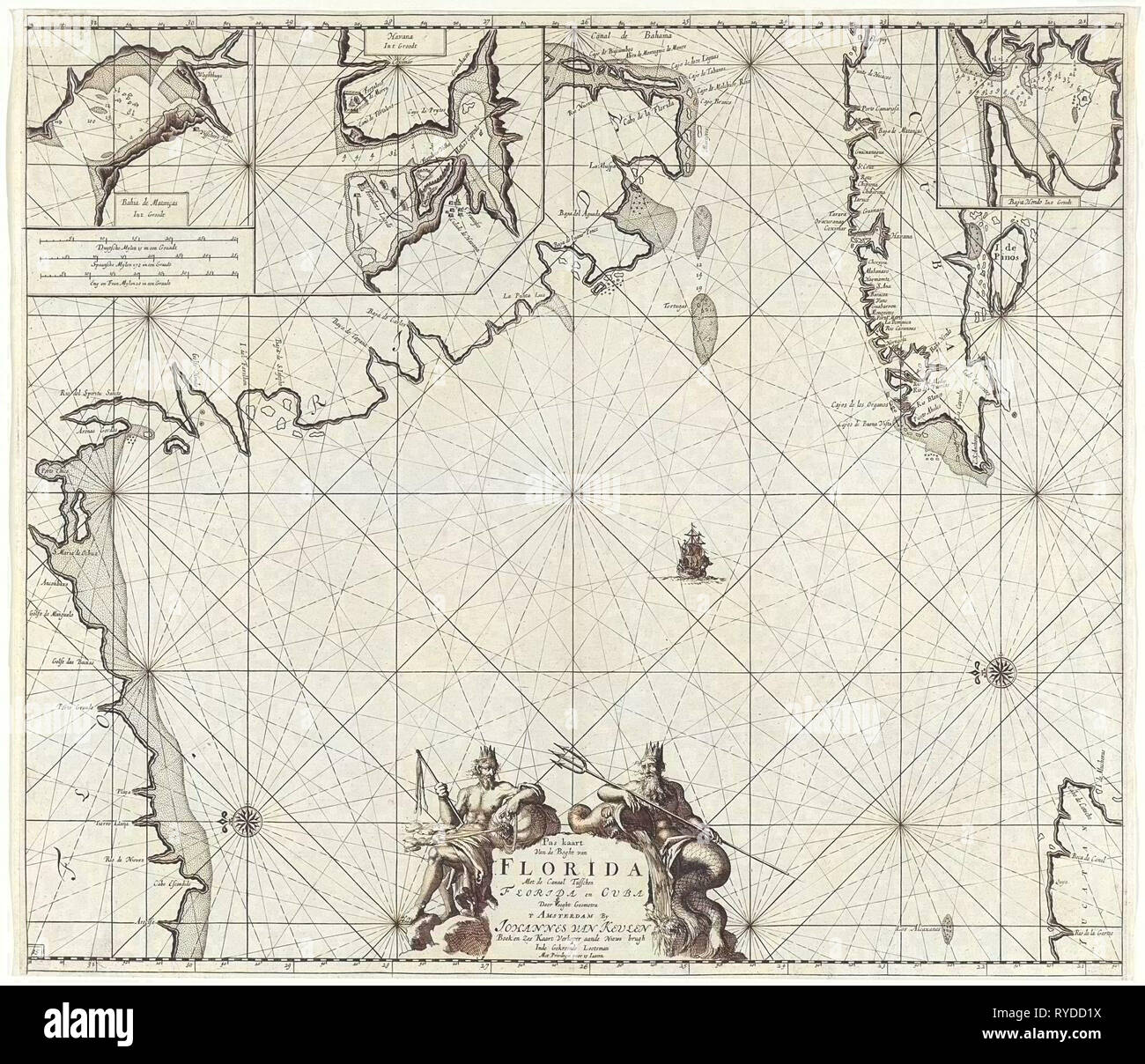 Sea chart of part of the Gulf of Mexico, with the coast of Florida, Jan Luyken, Claes Jansz Voogt, Johannes van Keulen (I), 1684 - 1799 - Stock Image