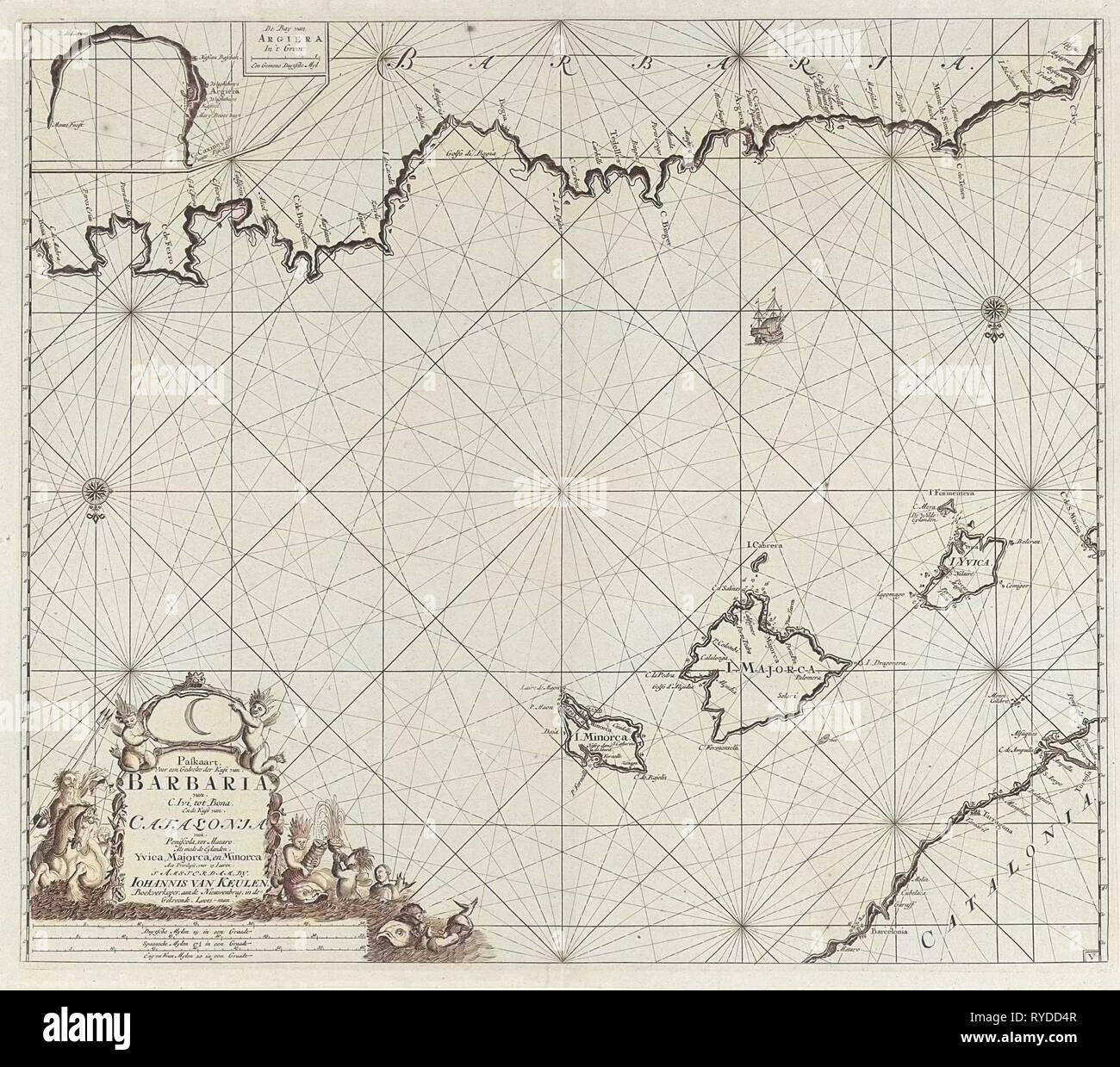 Sea chart of a part of the Mediterranean Sea with the coasts of Spain and Algeria, Anonymous, Johannes van Keulen (I), unknown, 1682 - 1803 - Stock Image
