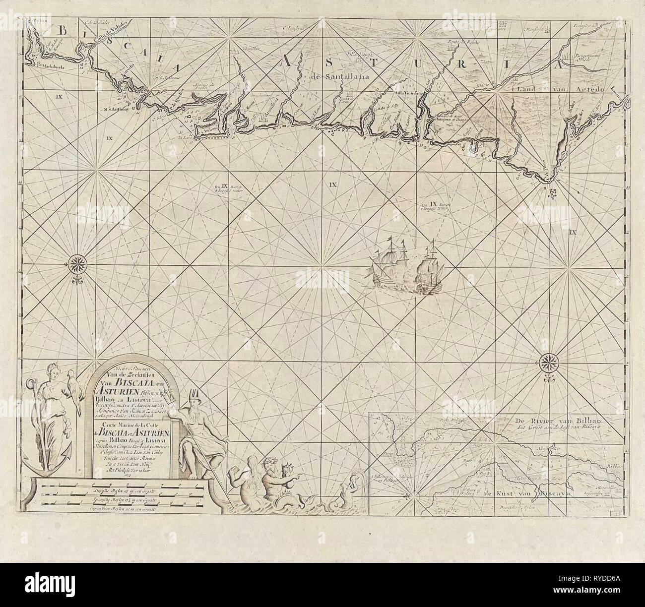 Sea chart of a portion of the Bay of Biscay in Bilbao, Anonymous, Claes Jansz Voogt, Johannes van Keulen (II), 1734 - 1803 - Stock Image