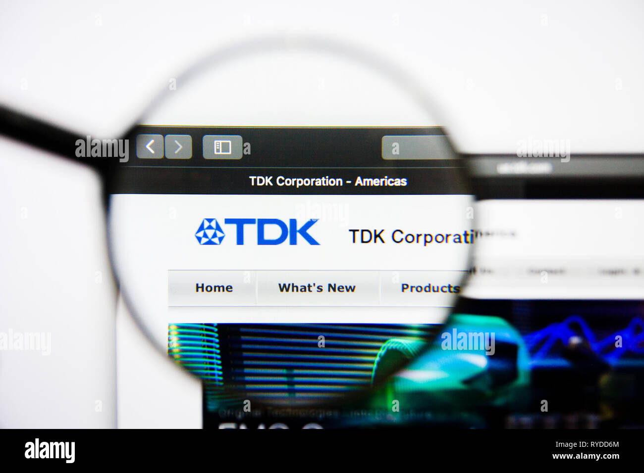 Los Angeles, California, USA - 25 January 2019: TDK website homepage. TDK logo visible on screen. - Stock Image