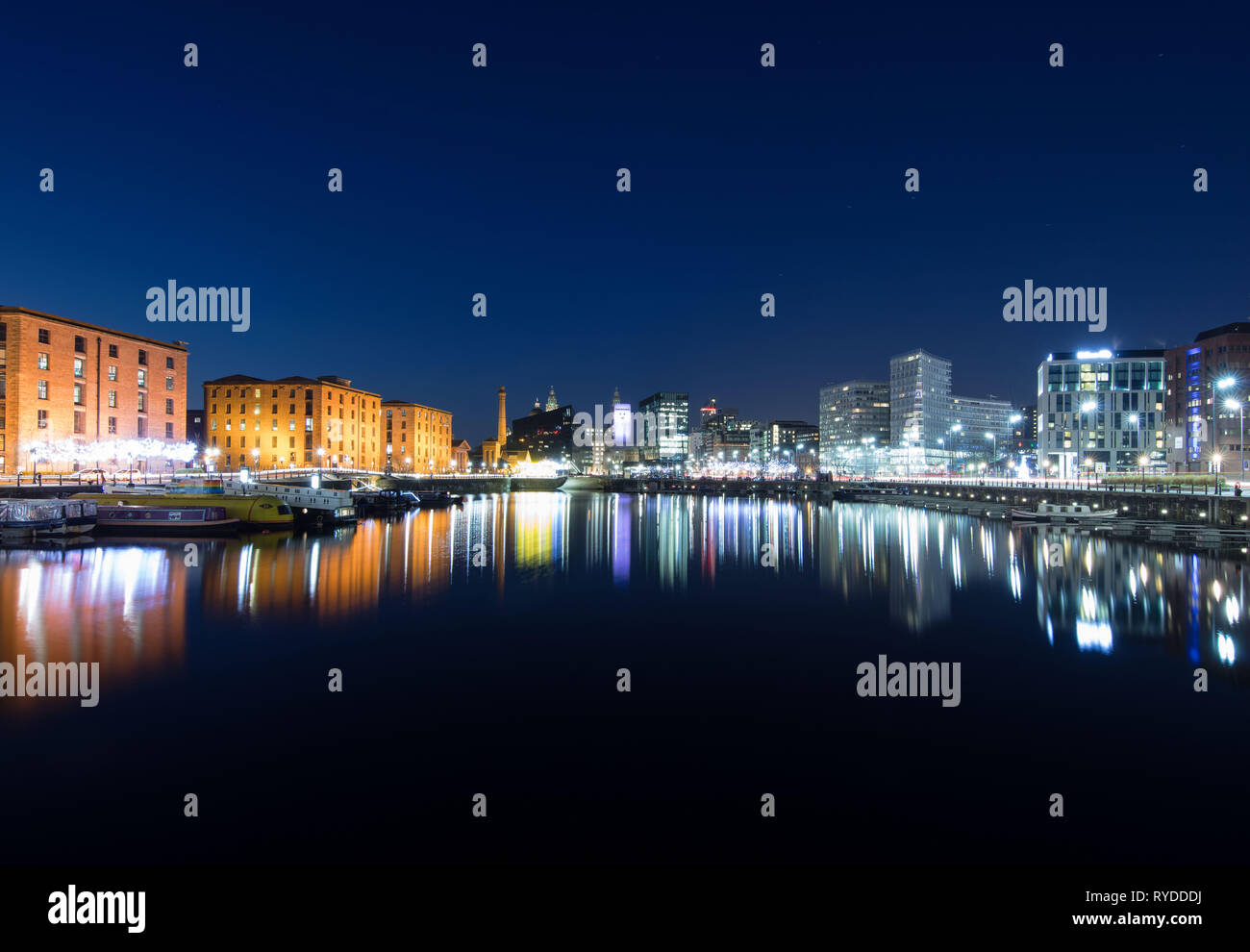 A shot of The fabulous Royal Albert Dock in Liverpool. Even the stars came out for this long exposure. Stock Photo