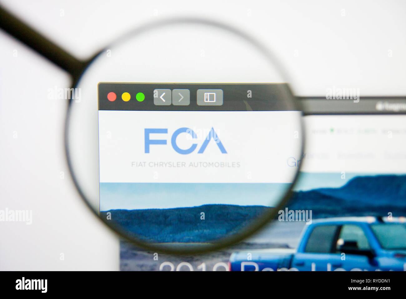 Los Angeles, California, USA - 14 February 2019: Fiat Chrysler Automobiles website homepage. Fiat Chrysler Automobiles logo visible on screen. Stock Photo