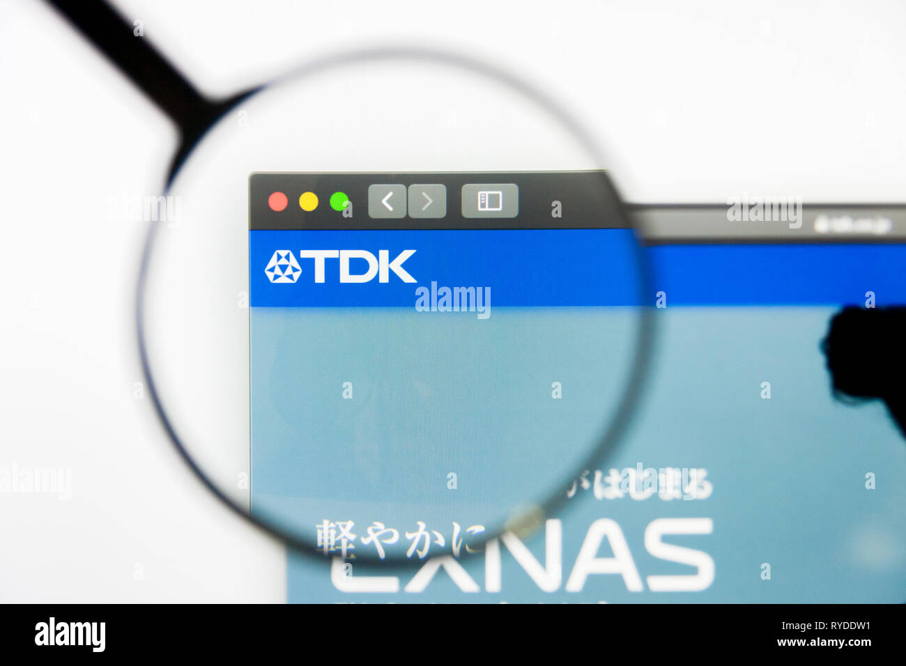 Los Angeles, California, USA - 12 March 2019: Illustrative Editorial, TDK website homepage. TDK logo visible on screen - Stock Image