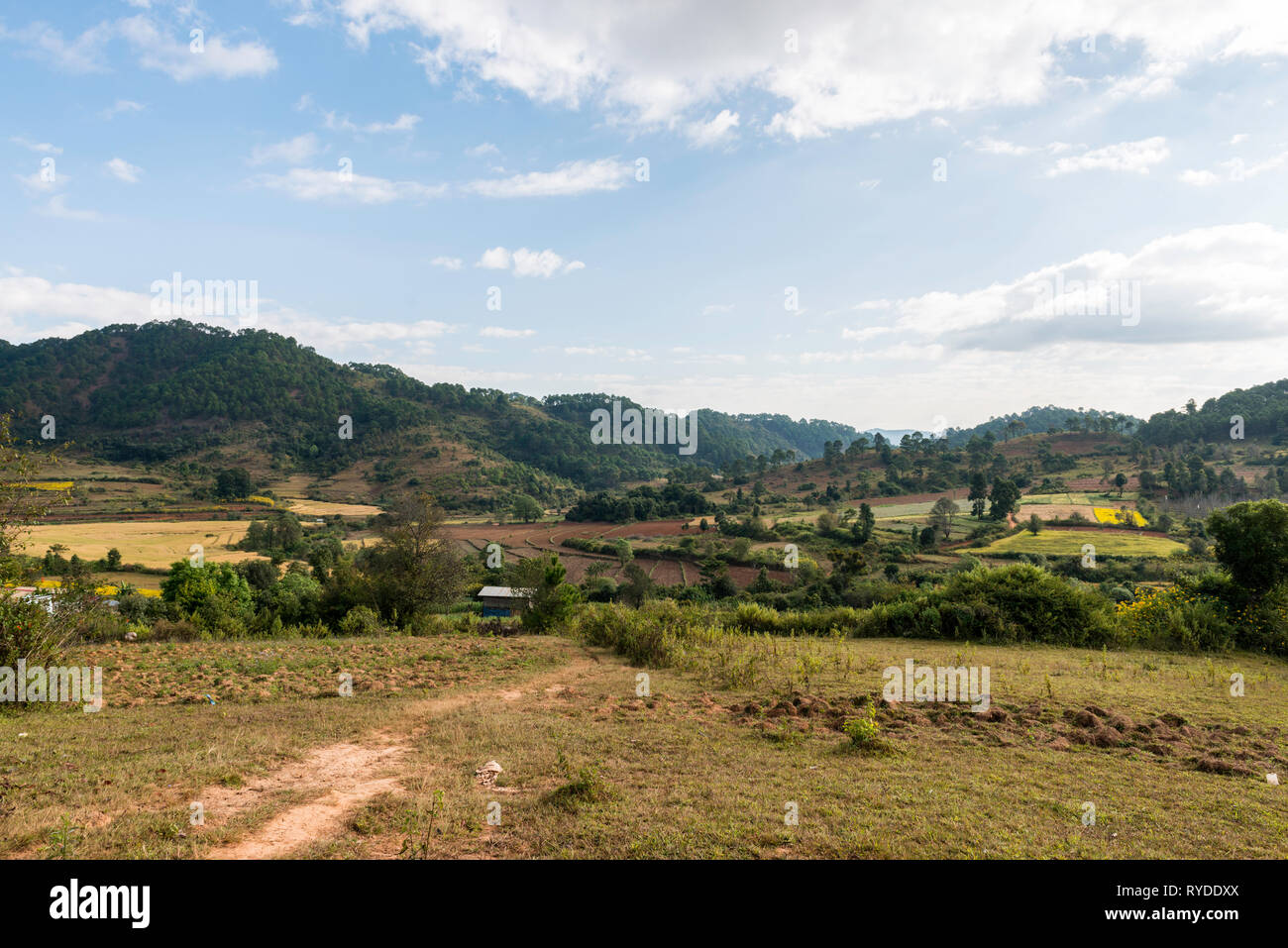 Horizontal picture of beautiful landscape in famous trekking between Kalaw to Inle Lake during blue sky day in Myanmar Stock Photo