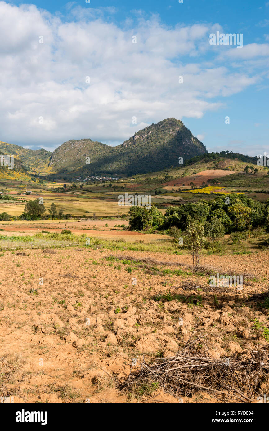 Vertical picture of beautiful view of landscape during trekking between Kalaw to Inle Lake located in Myanmar Stock Photo