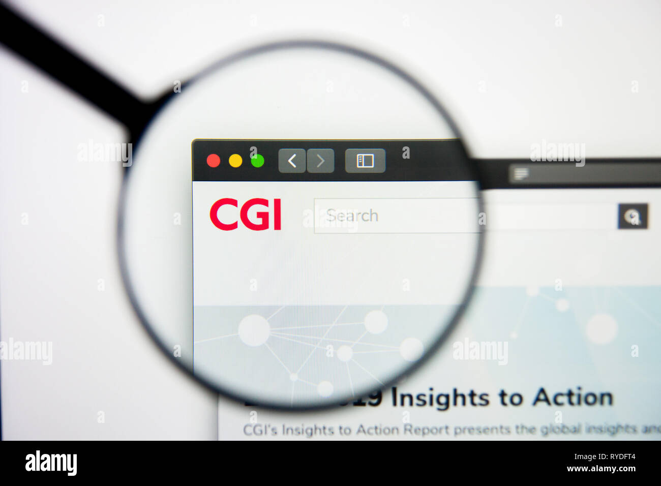 Los Angeles, California, USA - 5 March 2019: CGI Group website homepage. CGI Group logo visible on display screen, Illustrative Editorial - Stock Image