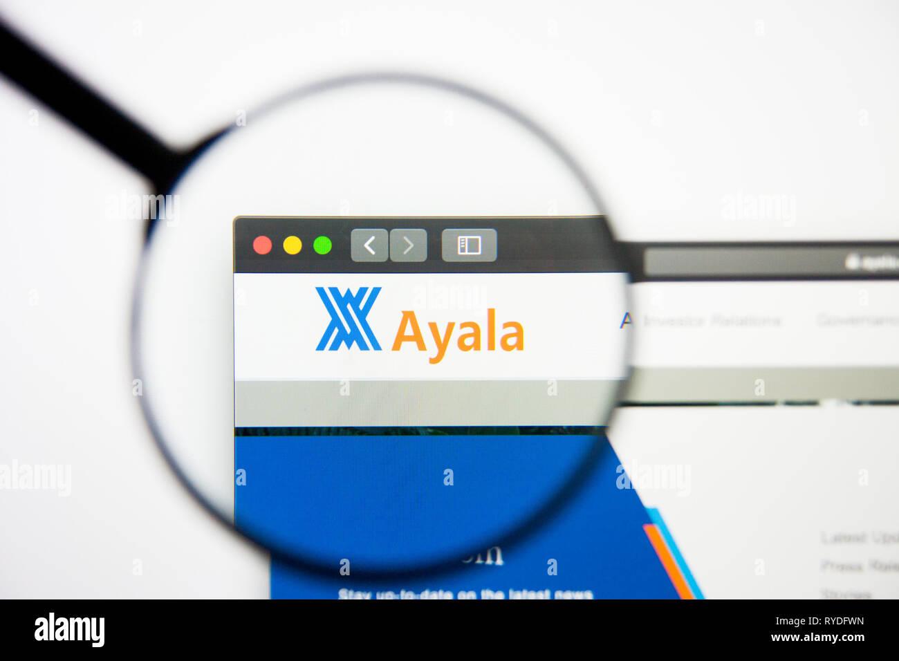 Los Angeles, California, USA - 5 March 2019: Ayala website homepage. Ayala logo visible on display screen, Illustrative Editorial - Stock Image
