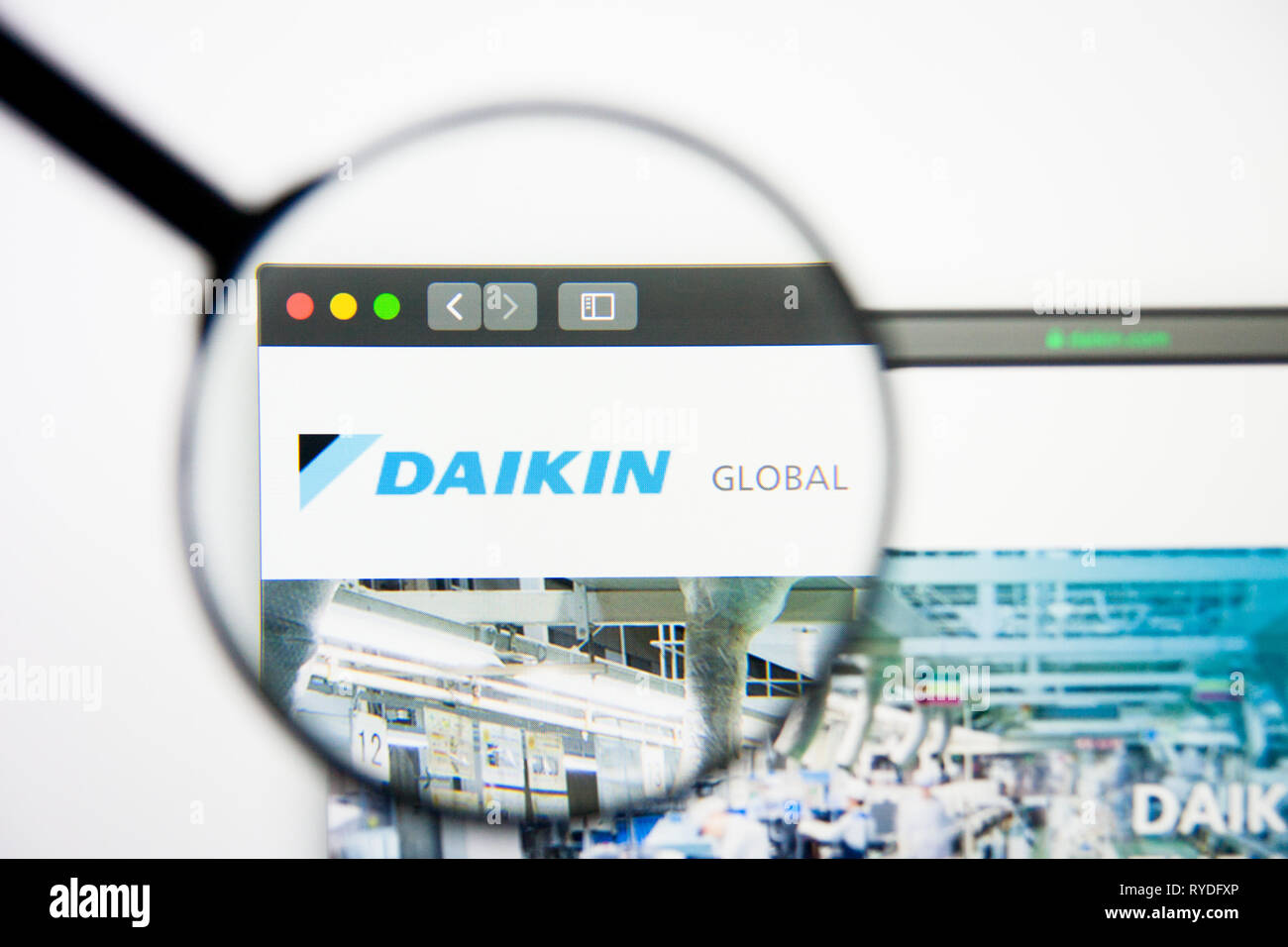 Los Angeles, California, USA - 5 March 2019: Daikin Industries website homepage. Daikin Industries logo visible on display screen, Illustrative Stock Photo