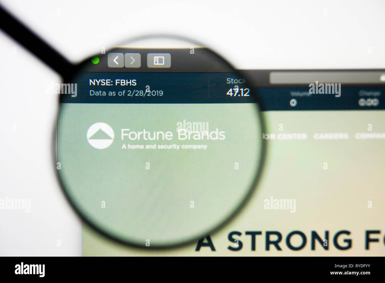 Los Angeles, California, USA - 5 March 2019: Fortune Brands Home and Security website homepage. Fortune Brands Home and Security logo visible on Stock Photo