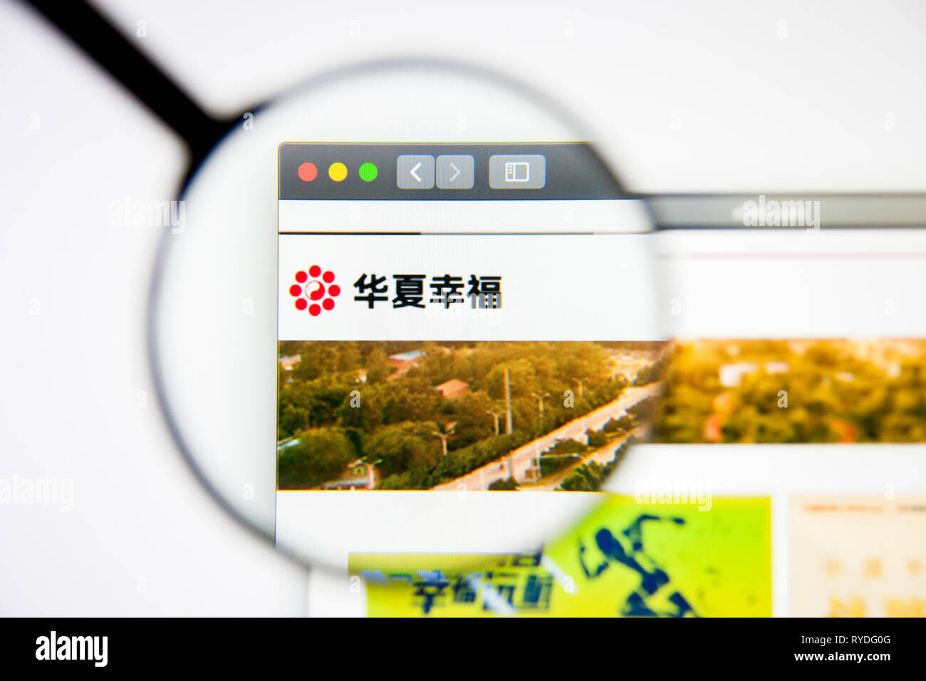 Los Angeles, California, USA - 5 March 2019: China Fortune Land Development website homepage. China Fortune Land Development logo visible on display - Stock Image