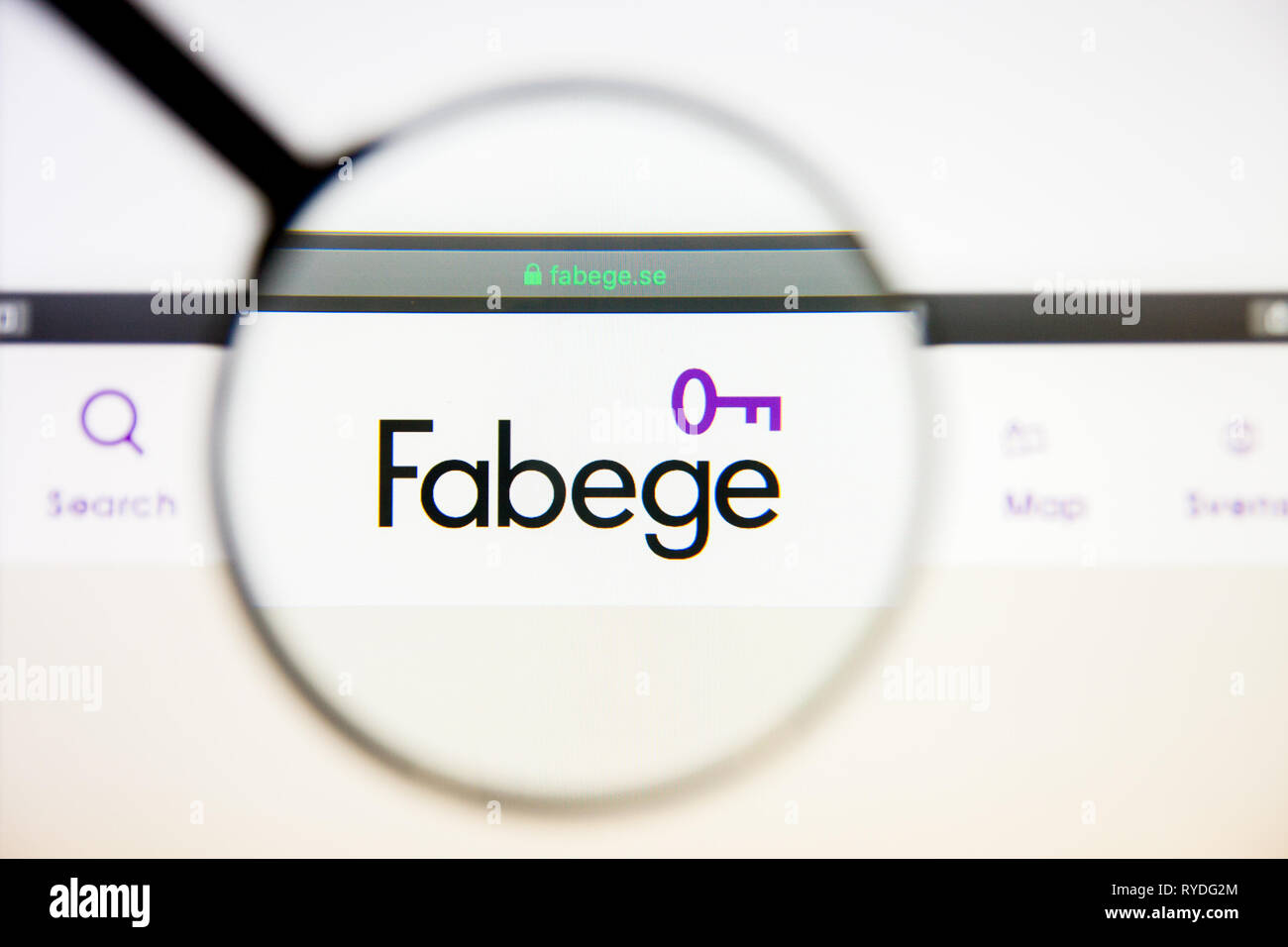 Los Angeles, California, USA - 5 March 2019: Fabege AB website homepage. Fabege AB logo visible on display screen, Illustrative Editorial - Stock Image