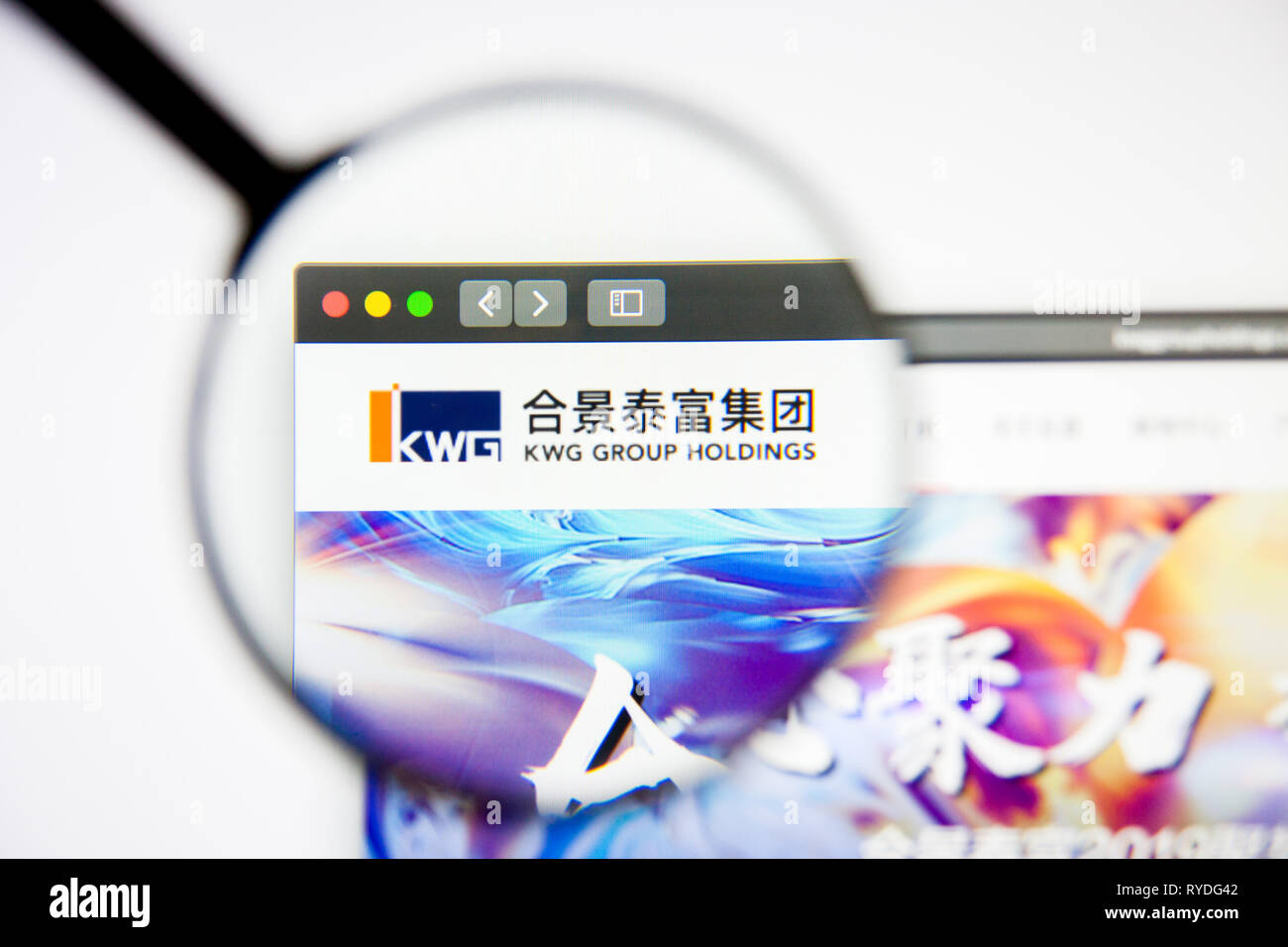 Los Angeles, California, USA - 5 March 2019: KWG Property Holding website homepage. KWG Property Holding logo visible on display screen, Illustrative - Stock Image