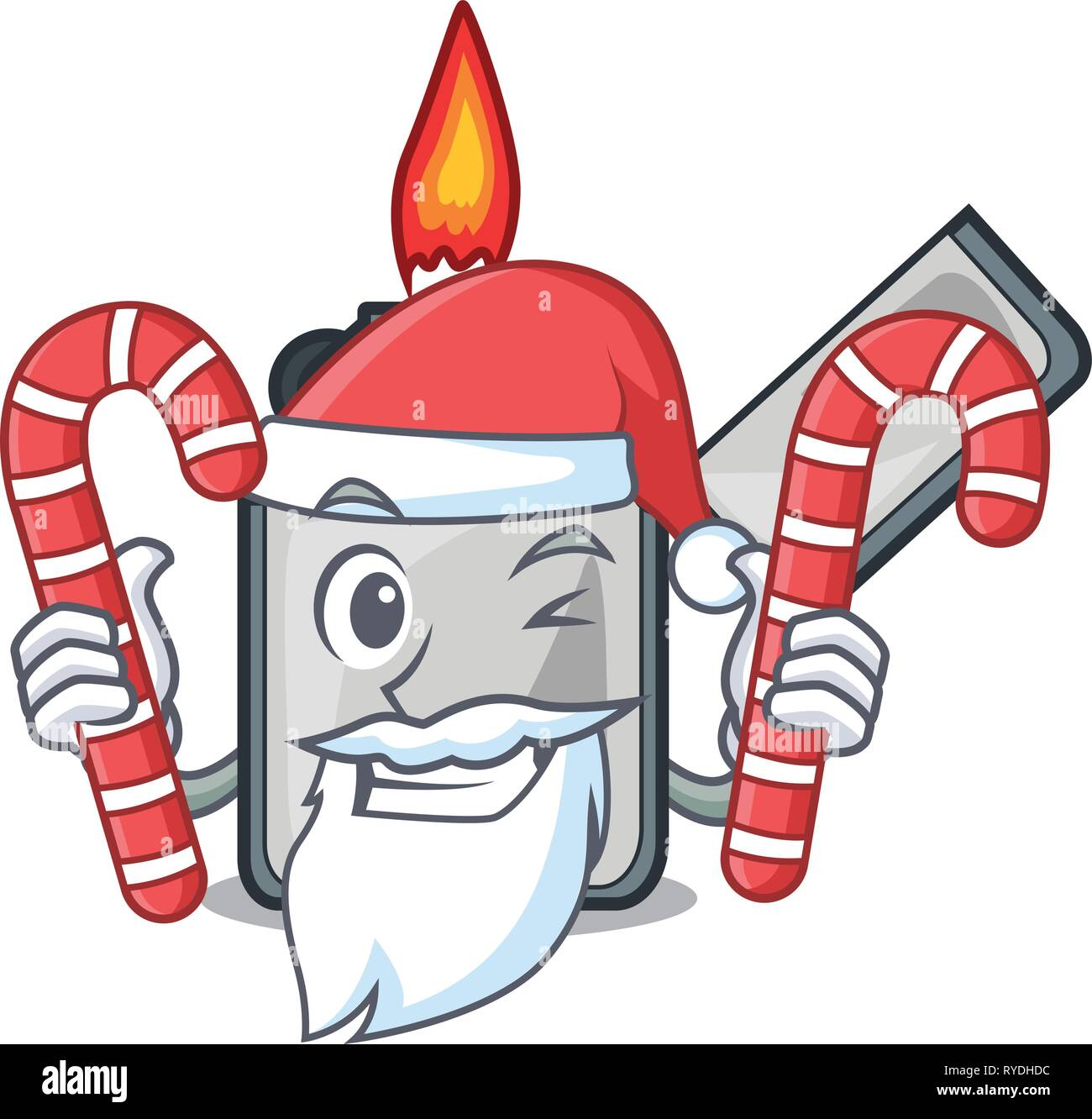 Santa with candy cigarette lighters are placed cartoon bags - Stock Image