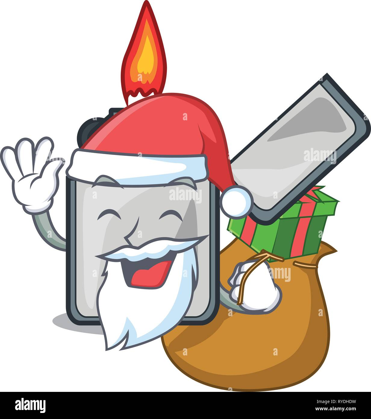 Santa with gift cigarette lighters are placed cartoon bags - Stock Image